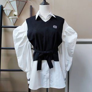 Puffy shoulder shirts with knit vest